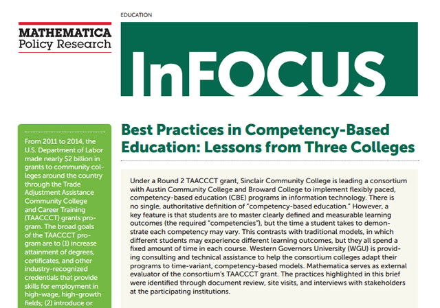 Report: Best Practices in Competency-Based Education: Lessons From Three Colleges